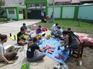 Building Fences with recycled bottlesin Huayoccari